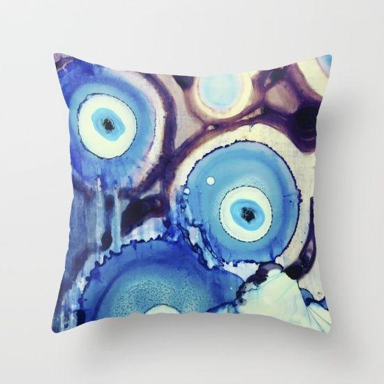 evil eye ink art watercolor bohemian blue  painting wall art home decor