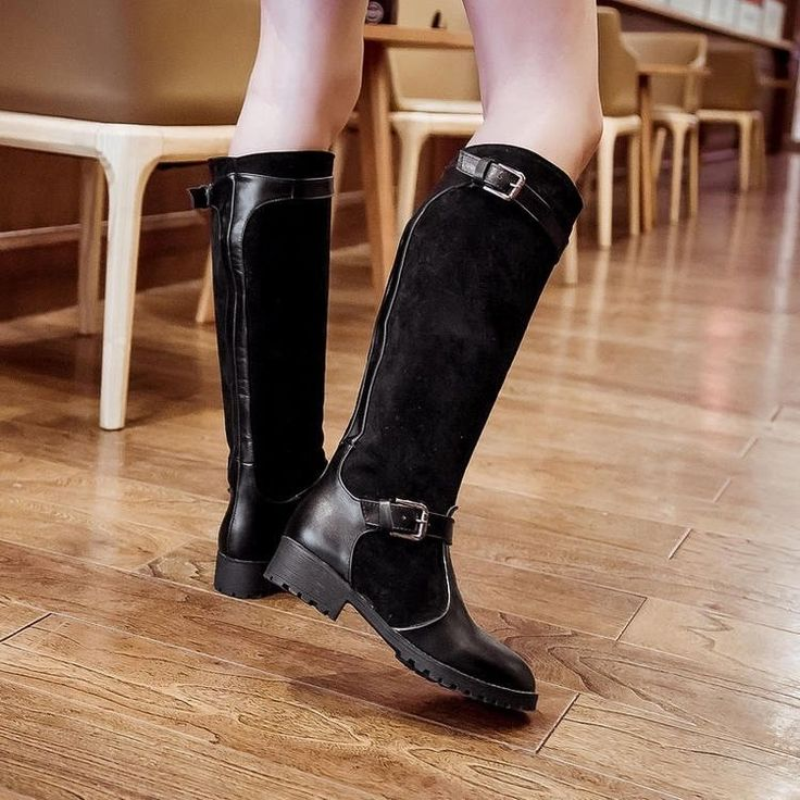 Fashion Belt Buckle Women Western Riding Boots Thick Heel Faux Suede Knee High Boots Tall Plus Size 34-43