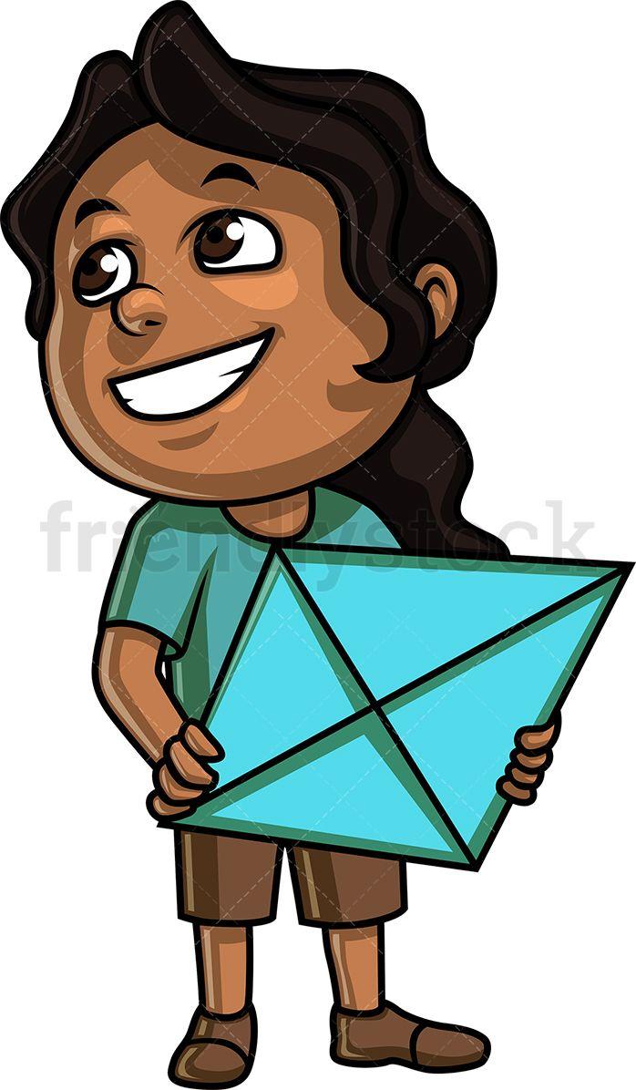 Black Girl Holding A Kite Cartoons Vector Cartoon Clip Art