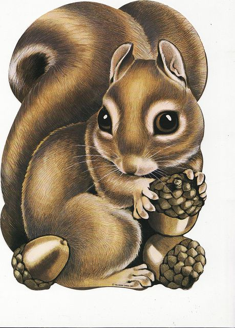 Calsidyrose Squirrel Die Cut Decoration Unknown maker; direct scan; approximately 12 inches high.