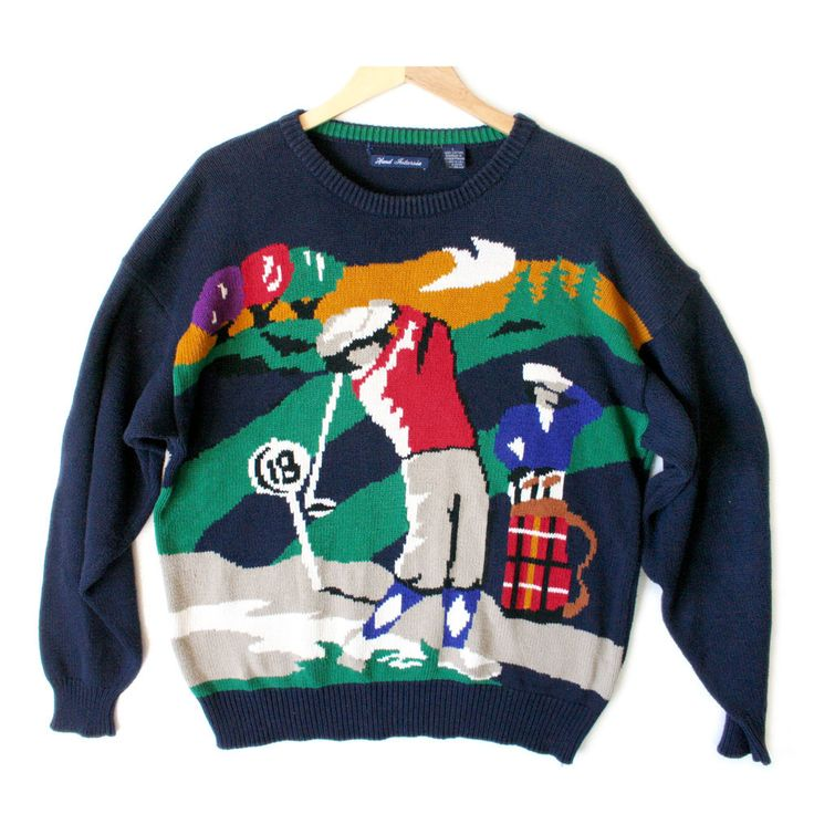 Hathaway 18th Hole Mens Tacky Ugly Golf Sweater