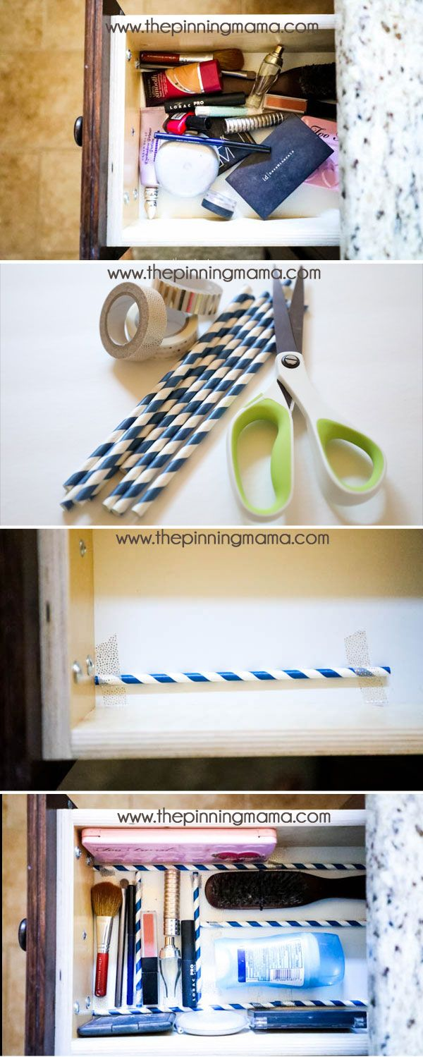 GENIUS IDEA!! How to oragnize your drawer to keep things from rolling around with just straws and washi tape. (ad)
