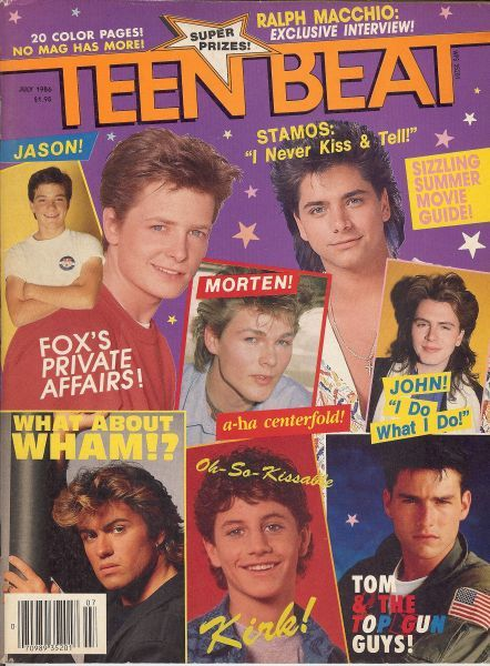 teen beat magazine  I was in love with Corey Haim and Kirk Cameron.  My bedroom wall was covered with posters of them!!!