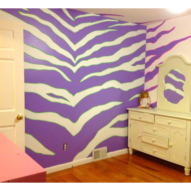 Zebra print! This would be cool in Neon green and black on one wall of Kassandra's room.