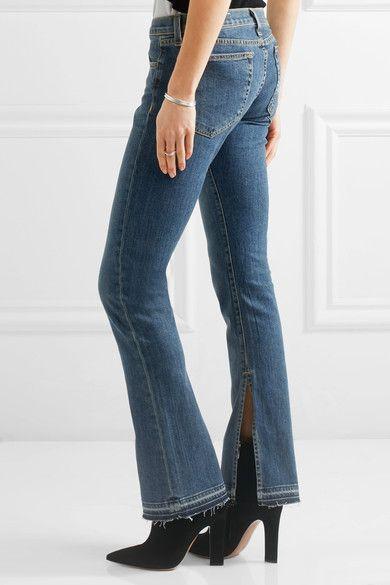 rag & bone - Lottie Low-rise Frayed Bootcut Jeans - Mid denim