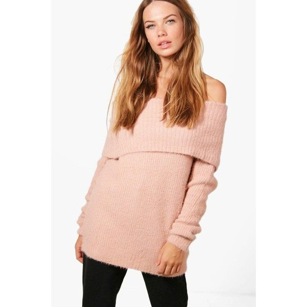 Boohoo Louise Soft Knit Bardot Jumper ($22) ❤ liked on Polyvore featuring tops, sweaters, knitwear sweater, sequin sweater, animal print sweaters, chunky sweater and chunky knit jumper