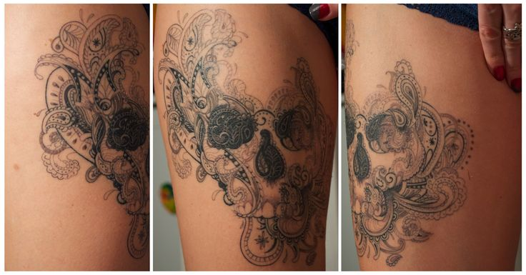 Unique and very beautiful paisley/skull  done by Mélo, few weeks ago, at Under My Skin, Marseille, France