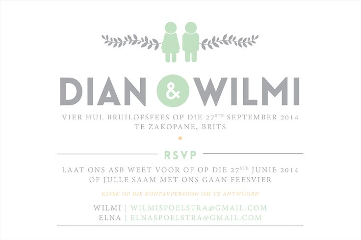 Quirky Mint & Peach Save the date - Invitation Stationery