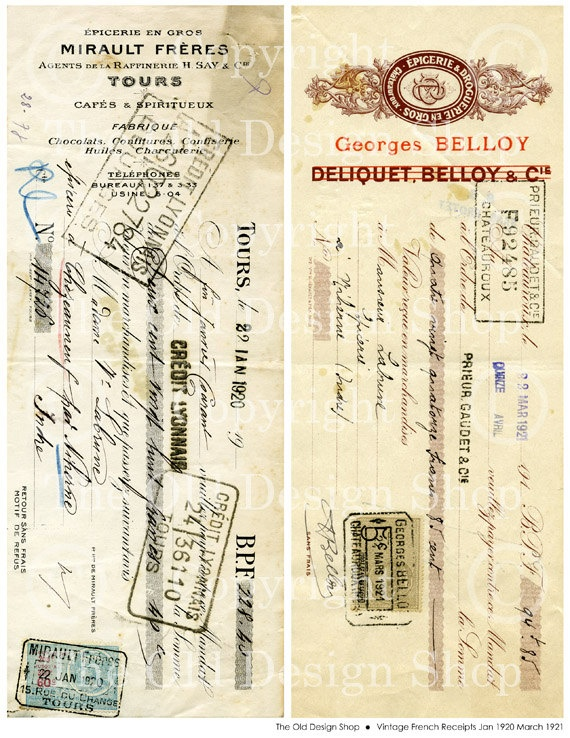 Payment Upon Receipt Word  Best Letter Images On Pinterest  Free Printables Vintage  Charity Tax Receipt Pdf with Usps Certified Mail Return Receipt Requested Vintage French Receipts Jan  Mar  By Theolddesignshop Open Source Invoice System Word