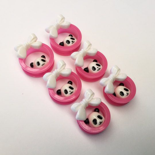 Pink Panda Bow Ear Tunnels by TeacupRose on Etsy