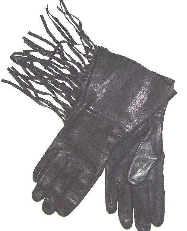 Deerskin black leather western fringe gloves USA made