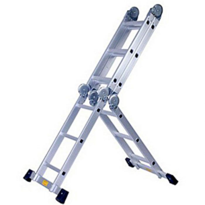 The Super Ladder includes Scaffold Plates and Support Stand capable of holding up to 150 kg load. This folding ladder expands to a full length Single Step Ladder with 12 rungs and each step 28 cm apart.Among extendable ladders, the Super Ladder is, Portable, versatile, safe and has easy 'click lock' system to secure it's shape