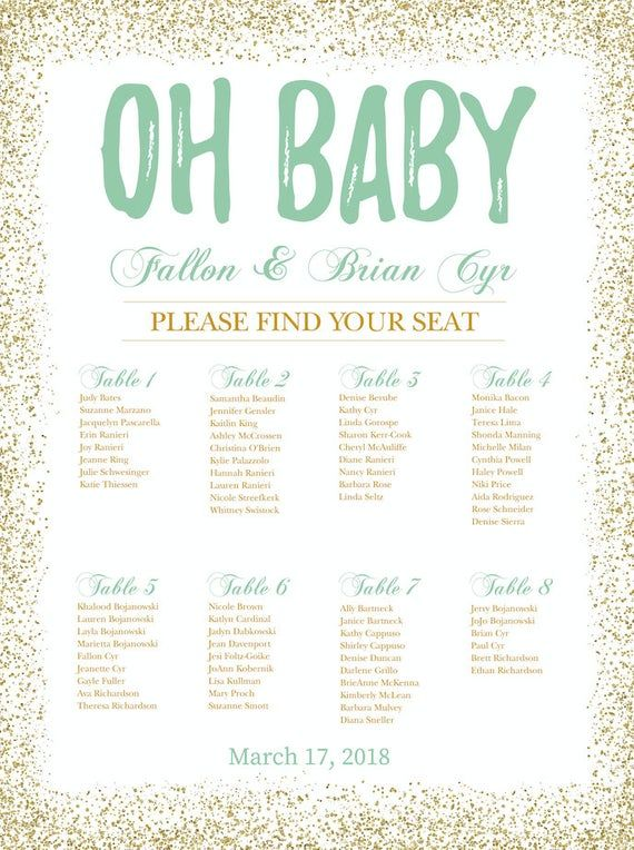 Baby Shower Seating Chart Board Oh Baby Seating Chart Baby Etsy Seating Charts Trendy Seating Baby Shower