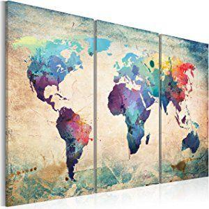 Impression sur toile 120x80 cm - Grand format - XXL - 3 Parties - Image sur toile - Images - Photo - Tableau - motif moderne - Décoration - pret a accrocher - Carte du Monde 020113-47 120x80 cm B&D XXL
