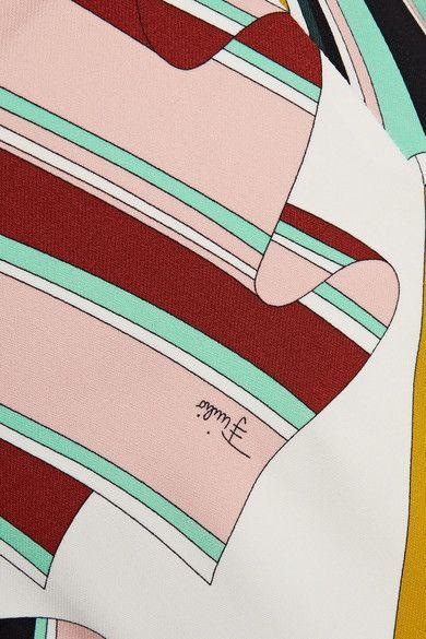 Emilio Pucci - Printed Stretch-twill Skinny Pants - Green - IT38