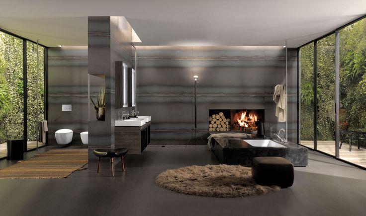 La salle de bains pièce à vivre selon Antonio Citterio pour Keramag (Allia) : espace et feu de bois.