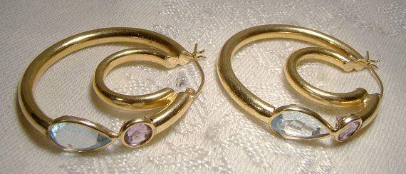 14K Blue Topaz Amethyst Hoop Earrings 1970s 14 K Yellow Large