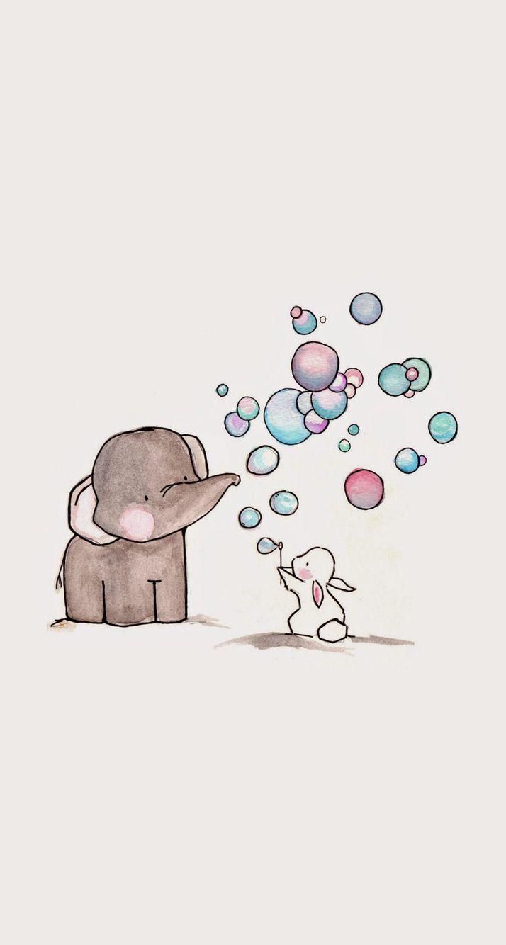 Éléphant,  lapin, bulles