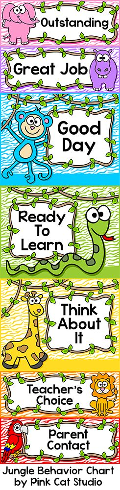 This fun Jungle Theme behavior clip chart will look fantastic in your classroom! Your students will be excited to behave well and move their clip up the chart. You can tailor this chart to your exact needs by editing the text and picking large or small sections depending on your class size. You can also order the colors however you like.