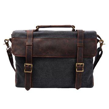 S-ZONE Vintage Canvas Leather Messenger traveling Briefcase Shoulder Laptop Bag (Deep Gray) #affiliate