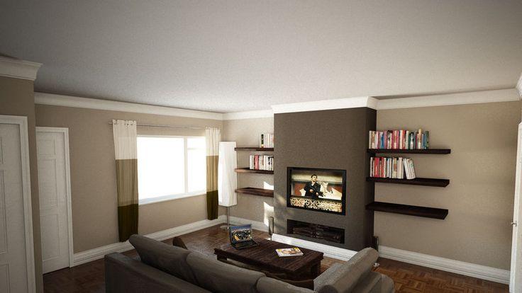 Nice frameless fire and eye level tv fake chimney breast - False wall designs in living room ...