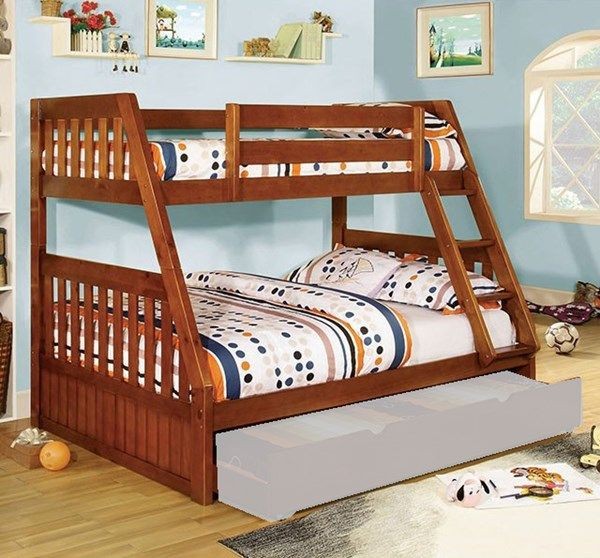 Canberra Cottage Oak Wood Twin/Full Bunk Bed (Trundle Not Include)