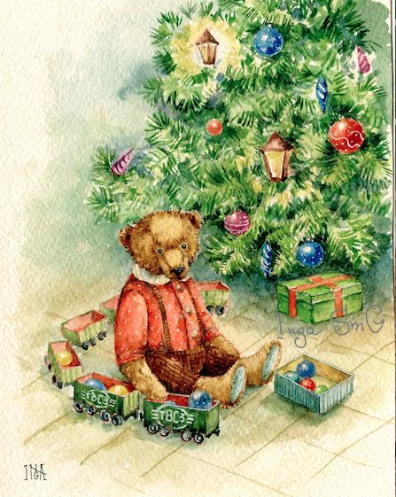 Винтажные открытки с рождеством с мишками