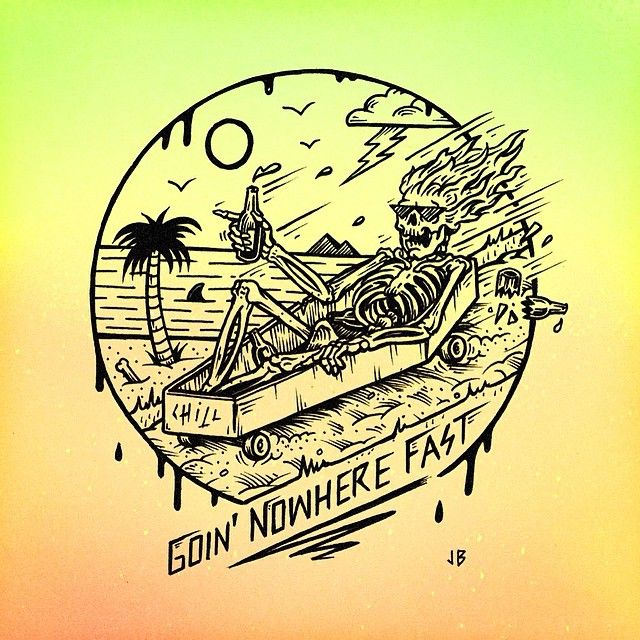Jamie Browne Art @Jamie Browne ~ jamiebrowneart.com ~ Goin' Nowhere Fast tee graphic for Volcom