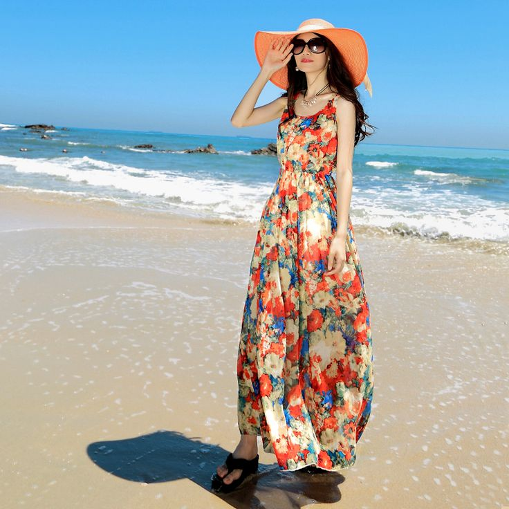 2015 primăvara și vara nou rochie sifon florale rochie de plaj boem fusta fusta de vara pentru femei