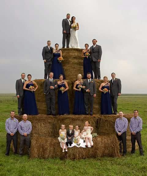 Barn wedding. Wedding cake. Rustic. Blue brides maid dress. Haybales. Farm wedding. Boots. Ranch wedding. Definitely me! ♡