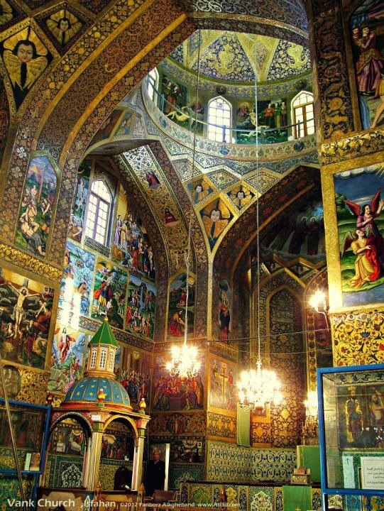 Armenian Vank Cathedral was one of the first churches to be established in the city of New Jolfa, Iran, district by Armenian immigrants settled by Shah Abbas I after the Ottoman War of 1603-1605.