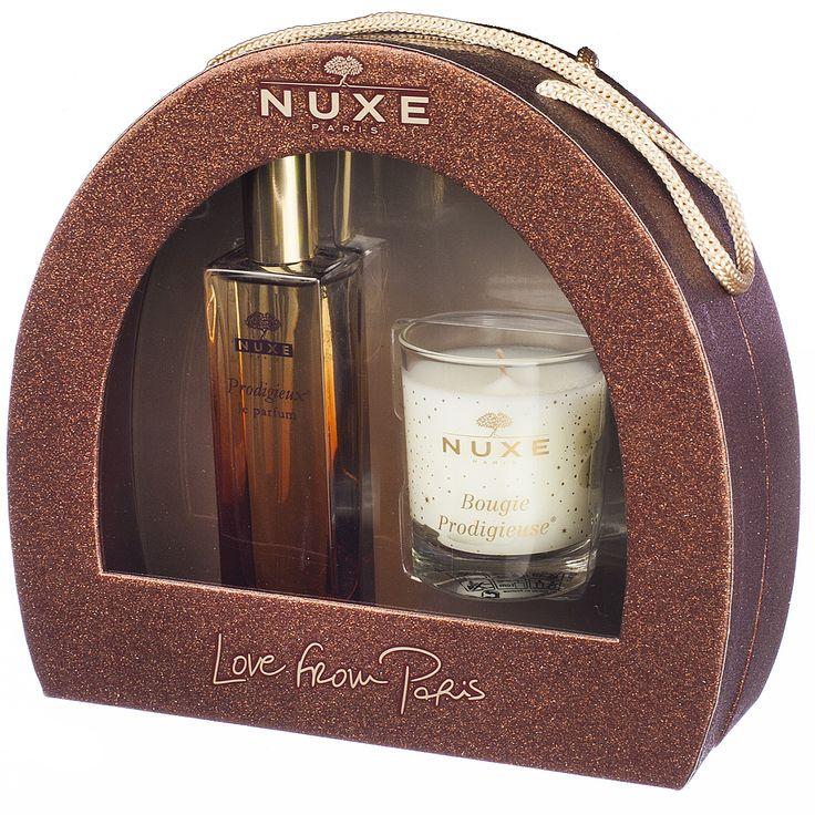Nuxe Prodigieux Kerstkoffertje Parfum + Kaars | De mythische geur van Huile Prodigieuse geconcentreerd in een sensueel eau de parfum. Prodigieux Le Parfum is een vrouwelijke geur die naar zon en warm zand zweemt, met toetsen van oranjebloesem, magnolia en vanille.