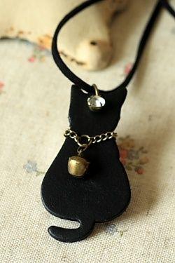 Photo1: Handmade Leather Pendant Necklace
