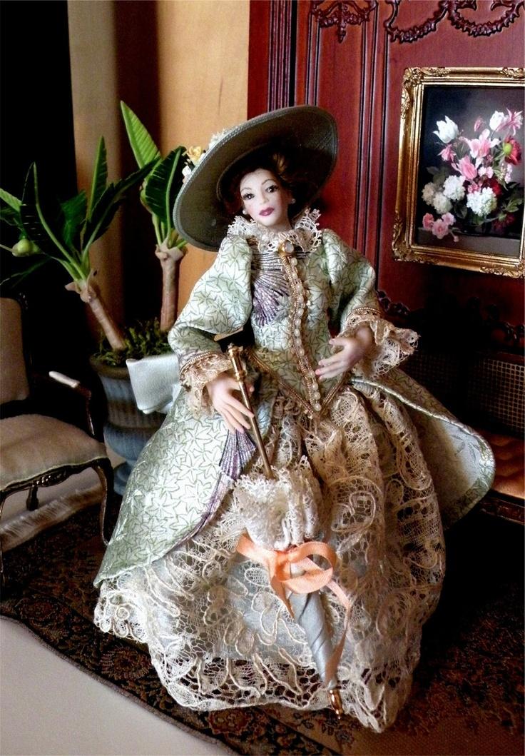 """Dollhouse Miniature 1:12 Scale Artisan Made Dollhouse Doll """"Frances"""". $125.00, via Etsy."""