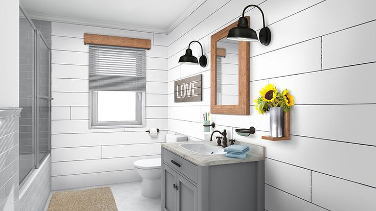 white barnwood shiplap used as an accent wall for the bath on what is a wall id=84898