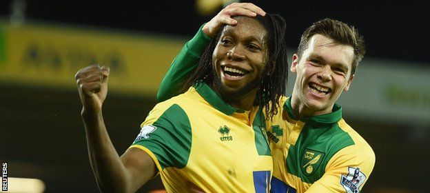 Norwich City 2 Aston Villa 0: Dieumerci Mbokani was the scorer of the second Norwich goal.