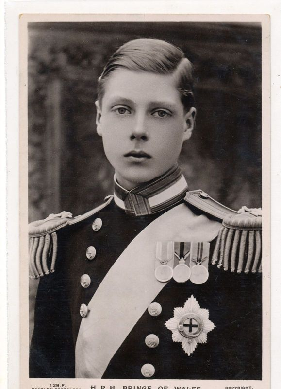 Edward, Prince of Wales, later became King Edward VIII and lastly Duke of Windsor after giving up the throne for Wallis Simpson.