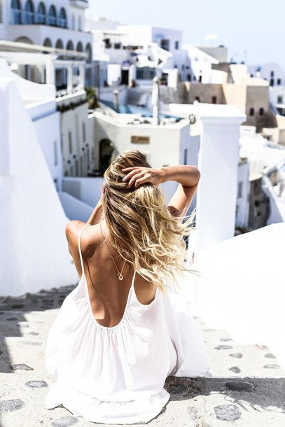 Top: ohh couture, blogger, backless dress, backless, white dress, summer, summer dress, sexy dress, blonde hair, travel - Wheretoget