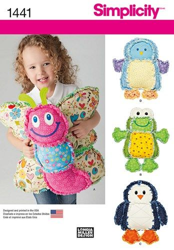 Rag Quilted Animal Pillows Frog Butterfly Penguin Simplicity 1441 | auntiechrisquiltfabric - Craft Supplies on ArtFire