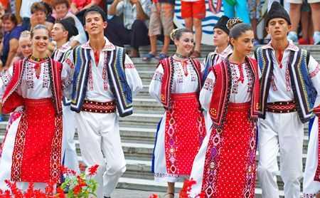 The structure of Romanian traditional clothing has remained unchanged throughout history and can be traced back to the earliest times. The basic garment for both men and women is a shirt or chemise, which is made from hemp, linen or woollen fabric. This was tied round the waist using a fabric belt, narrow for women and wider for men. The cut of this basic chemise is similar for men and women.