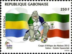 Flags of Gabon and Equatorial Guinea and mascot: Holding bal