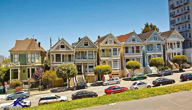 Mooie victoriaanse huizen in San Francisco