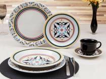 Aparelho de Jantar Chá 30 Peças Oxford - Cerâmica Redondo Colorido Floreal Luiza
