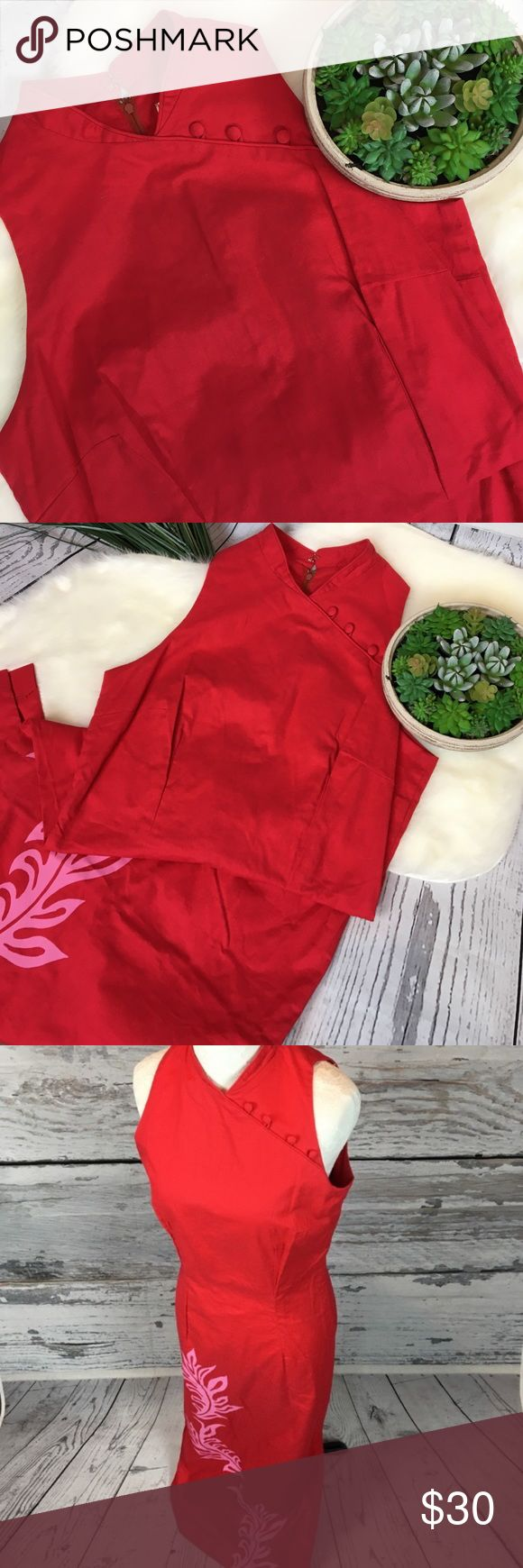 "Vintage STUNNING Hawaiian Red USA Mamo Dress Sz 6 STUNNING!! Mamo Howell Made in Hawaii red sleeveless dress. Floral Hawaiian pink pattern at bottom. Size split. Size is a 6 but, fits my size 2/4 mannequin perfectly. Fully zip back. Long fitted style, please review measurements carefully. Vintage clothing fits differently then today's clothing made in China.  Measurements (flat): Armpit to armpit: 17.5"" Waist: 14.5"" Hips: 18"" Armpit to bottom: 46"" Shoulder to bottom: 55"" Across bottom: 18""…"