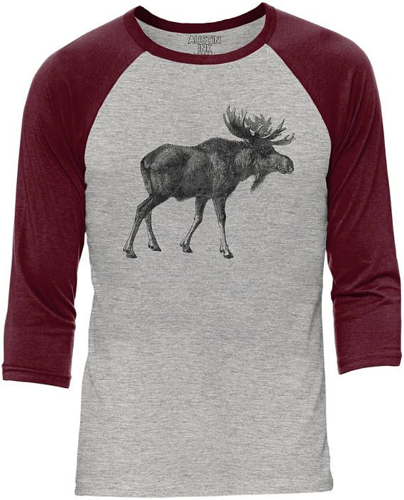 Austin Ink Apparel Alaskan Moose Heather Grey Body Unisex 3/4 Contrast Sleeve Baseball Tee