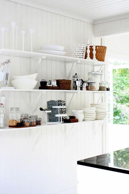 wall of open shelves