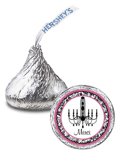 108 Chandelier French Bridal Shower Candy KISSES LABELS