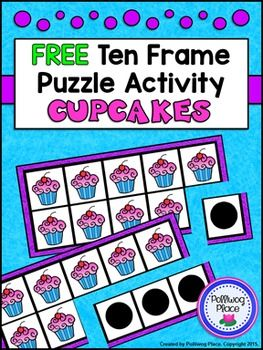 Ten Frame Puzzle Activity - Cupcake FreebieThis  Ten  Frame Puzzle Activity contains one set of ten frame cards and a  recording sheet. Simply print out the  ten frame puzzle pages (two ten frames per page) and cut apart. Students then  match the side with the pictures to the corresponding dots to make ten.There  are both color and black line puzzles to save ink.