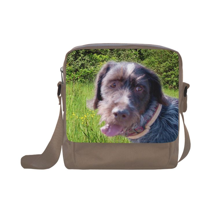Dog and Flowers Crossbody Nylon Bag. FREE Shipping. #artsadd #bags #dogs