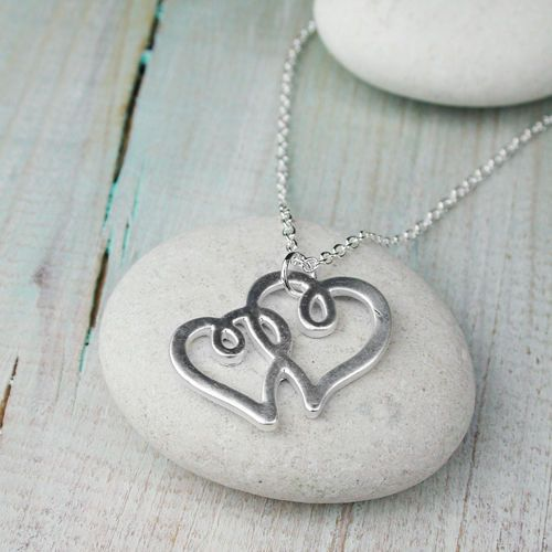 Silver plated necklace with double hearts in matt finish | eBay